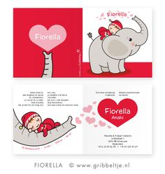 Geboortekaartje met olifant - Birth announcement with elephant * Made by Gribbeltje *