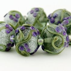 SRA Lampwork Glass Bead Set Green Purple by StoneDesignsbySheila