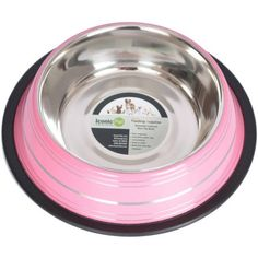 Iconic Pet Color Splash Stripe Non-Skid Pet Bowl, 8 Oz, Pink