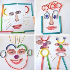 Make these crazy faces with some loose parts and our free printable facial features! We love loose parts play! Make some crazy faces with loose parts and our free printable facial features! All About Me Preschool, Preschool Crafts, All About Me Eyfs, Kids Crafts, Arts And Crafts, Toddler Activities, Preschool Activities, Family Activities, Playdough To Plato