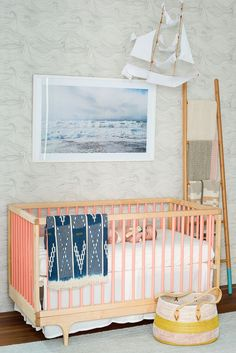 Such an interesting mix of color and patterns for a nursery.