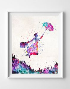 Mary Poppins Print Watercolor Art Type 2 Disney by InkistPrints