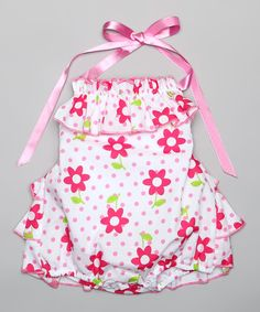 Look at this Pink Floral Ruffle Bubble Romper - Infant on #zulily today!