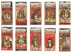 "These 3-color block prints on matchboxes by Denver-based wife-and-husband team Arna Miller and Ravi Zupa are the cat's meow! The set, titled Strike Your Fancy, depicts ""cats drinking at…"