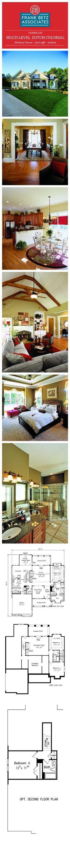 Hickory Grove: 2917 sqft, 4 bdrm, multi-level Dutch Colonial house plan design by Frank Betz Associates Inc.