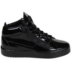 Giuseppe Zanotti Sneakers ($550) ❤ liked on Polyvore featuring shoes, sneakers, black, giuseppe zanotti, black rubber sole shoes, kohl shoes, black shoes and giuseppe zanotti shoes