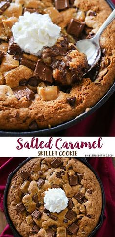 Salted Caramel Skillet Cookie is a thick chocolate chip cookie (often called a Pizookie) that's baked in a skillet & loaded with YUM! via @Kleinworth & Co.