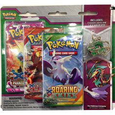 Pokemon XY 6 Pin Double Blister featuring Mega Rayquaza or Mega Latios has arrived! Give your collection a boost! Power up your Pokemon Trading Card Game collection with three booster packs and show your Pokemon pride with an awesome collector's pin featuring either Mega Latios or Mega Rayquaza! This set includes 3 Pokemon TCG booster packs and a Mega Rayquaza or Mega Latios collector's pin. <br><br><B>Please note, you will receive either the Mega Latios or Mega Rayq...