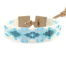 Light Blue Mix Floral Bracelet on Beige Leather