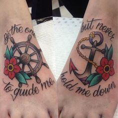 """#tattoo #oldschool #anchor  """"Be the one to guide me but never hold me down"""""""
