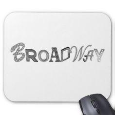 ブロードウェイはつきます(B&W) マウスパッド