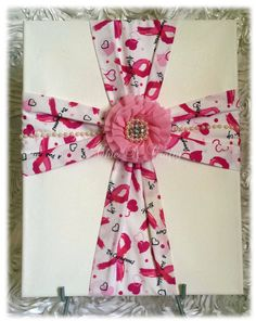 Breast Cancer Awareness Fabric Wall Cross on by 1ChicNCraftyMama