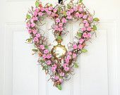Pink Heart  wreath -  carnation pink paper roses - Valentines front door decor - year round decoration