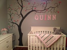 baby room pink and grey nursery girl tree mural wall murals for boys amp girls