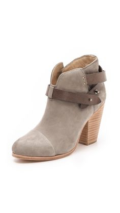 2012 $495 Rag & Bone Harrow Booties Soft grey nubuck forms the flattering ankle silhouette of these classic Rag & Bone booties. The contrast, crisscross ankle strap fastens with buttons, and the split shaft is notched at the top.Stacked heel and leather sole