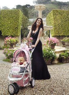 Lisa Vanderpump and her pomeranian Giggy...in a stroller! LOL.