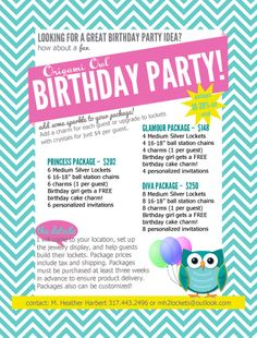 Throw an Origami Owl Birthday party!!! Everyone makes a locket, and birthday girl gets a free cake charm. Not just for the little princesses - for the big ones too! www.debbievice.origamiowl.com