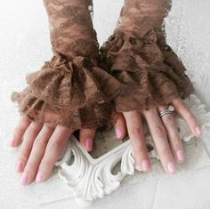 CAFE MOCHA vintage Victorian steampunk lace cuffs, fingerless lace gloves in coffee brown lace, free gift boxing. $15.00, via Etsy.