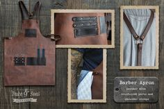 This handmade leather barber apron is made from 2 different leathers* Straps are made of 2,5 - 3 mm leather with bronze buckle and clasp for easy closing. The apron has shoulder straps for maximum comfort to wear all day. The straps on the back and around the waist are adjustable in length. After you placed the order I will send you a sheet for your dimensions so I can make the apron and the straps to fit you best. Size of the apron is approx. W= 650, H=850 mm Right side pockets for…
