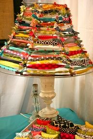 strip an old metal lampshade and tie scraps of fabric around the frame -