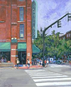"""""""2nd & Broad Nashville"""" - oil on canvas board, in Nashville Paintings and Drawings"""