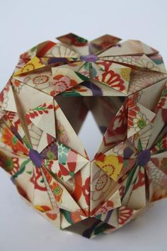 Detail of an Origami Form by Leatitia Geiger. Kimono print Origami paper.