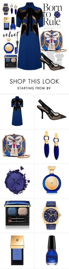 """Crushing on Velvet"" by anna-gabedava ❤ liked on Polyvore featuring Elie Saab, Christian Dior, Gucci, Pat McGrath, Boadicea the Victorious, Clé de Peau Beauté, Rolex, John Lewis, Revlon and dress"