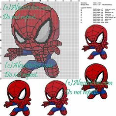 Spiderman point de croix modèle 100x100 9 couleurs