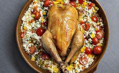 Glorian ruoka&viinin kanapaisti kypsyy huumaavasti tuoksuvan risoton päällä.