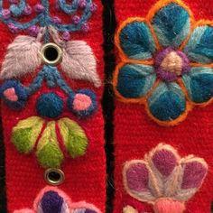 Cinturón Rojo peruano bordado en lana de Huancayo - Perú