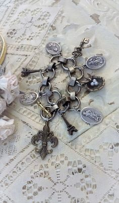 French Charm Bracelet Religious Medal Charm by BerthaLouiseDesigns