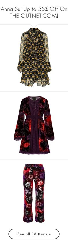 """Anna Sui Up to 55% Off On THE OUTNET.COM!"" by theoutnet ❤ liked on Polyvore featuring dresses, multi, retro dresses, silk dress, flounce dress, anna sui dress, multi-color dresses, dark purple, short purple dresses and velvet dress"