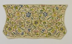 coif, late 16th century, England, linen embroidered with silk and silver gilt thread and spangles