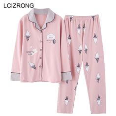 Autumn Cute Cartoon Print Pajamas Sets Women Big Size Nightgown Comfortable Ladies Cotton Home High Quality Sleepwear(China) Cute Pajama Sets, Cute Pajamas, Pajamas For Teens, Pajamas Women, Cute Sleepwear, Womens Pyjama Sets, Trendy Swimwear, Outfit Trends, Night Gown