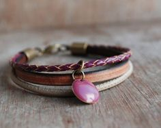 Cordoba  womens braided leather bracelet / summer trends / boho jewelry / Bordeaux Brown Rose // gifts for her I love these colors : a powdery , very delicate pink, a vintage saddle brown and a rich burgundy - brown ... I have used three high quality leather cords and an antique bronze brass closure. Flat leather cord 5x2 mm, a soft nappa leather 2 mm, and a braided leather cord 3 mm diameter).  The combination is completed by two wonderful brass beads .   -----------...