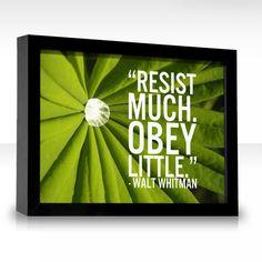 """""""Resist much..obey little.""""  Walt Whitman"""