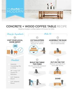 DIY Concrete + Wood Coffee Table // 5 Home Depot Hacks