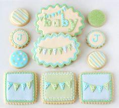 estilo galletas de bebé - banderolas, verde claro y turquesa