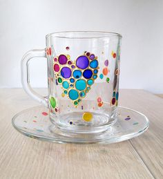 Rainbow heart tea cup set Bubbles multicolored heart cup and saucer ArtMasha on Etsy Personalized Handpainted glass coffee cup & saucer Heart kitchen decor