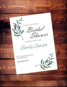 Bridal shower invitation - digital download - customized - herbs - 5 x 7