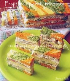 The colors of the plate: Pastry appetizer tricolor Appetizer Dips, Appetizers For Party, Appetizer Recipes, Tapas, My Recipes, Cooking Recipes, Food Decoration, Recipe For 4, Savoury Cake
