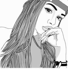 Pictures of outline drawings of famous people - Tumblr Outline, Outline Art, Outline Drawings, Cute Drawings, Girl Drawings, Tumblr Hipster, Tumblr Bff, Hipster Art, Tumblr Girl Drawing