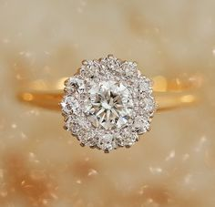 Antique Flower Cluster Diamond Engagement Ring