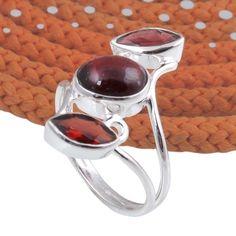 925 SOLID STERLING SILVER NEW GARNET GEMSTONE RING 3.28g DJR5576 #Handmade #Ring