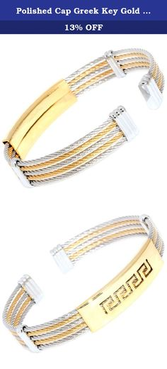 """Polished Cap Greek Key Gold Silver 2-Tone 5-Rows Twisted Cable Wire Stainless Steel Bangle Bracelet 089. Product Type - Fashion Twisted Cable Wire Bangle Material - Stainless Steel Color - Gold , Silver Tone Cable Width - 10mm (2mm x 5 rows) Size - Approx 7.25"""" Inches (One Size Fits Most) Quantity - 1 piece Condition - Brand New ."""
