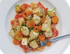Steaming couscous with a can of chopped tomatoes adds flavor and color without any extra work.