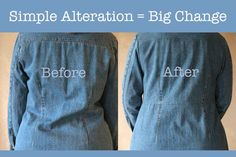 Sewing Basic Alter the Back of a Coat - Fourteen simple clothing alterations you can do yourself when those ready to wear clothes don't fit quite right or if your weight has recently fluctuated. Easy Sewing Projects, Sewing Hacks, Sewing Tutorials, Sewing Patterns, Sewing Tips, Sewing Ideas, Diy Clothes Alterations, Sewing Alterations, Sewing Basics