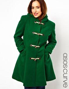 Image 1 ofASOS CURVE Exclusive Duffle Coat With Hood