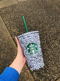 Handmade Custom made Assorted sized flatback grey pearls used Waterproof glue used Comes with care instructions Bpa free double walled hard plastic tumbler from Starbucks Grande size Starbucks Merchandise, Starbucks Art, Starbucks Tumbler, Starbucks Venti, Starbucks Drinks, Personalized Starbucks Cup, Custom Starbucks Cup, Candy Arrangements, Rhinestone Crafts