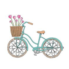 Tulip Bike  Easter or Spring Card by rachelink on Etsy, $3.00